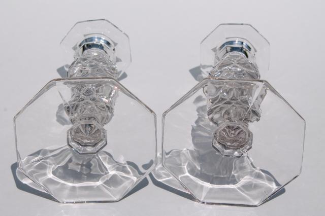 Vintage Fostoria American Candlesticks Pair Of Crystal