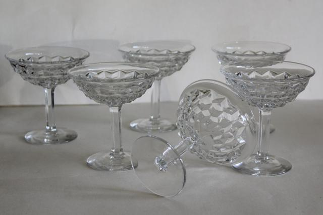 vintage Fostoria American cube pattern glasses, coupe champagnes set of six