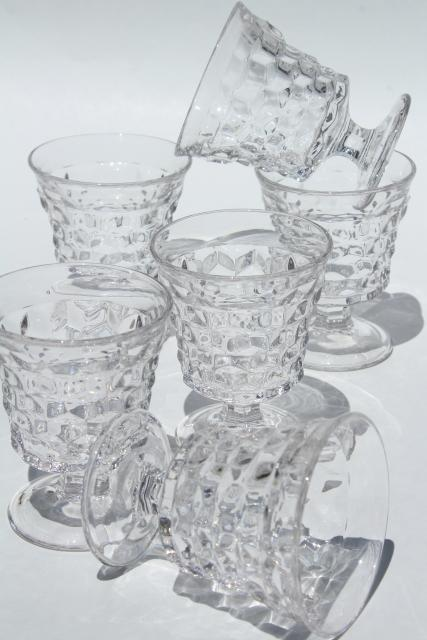 vintage Fostoria American cube pattern stemware, set of 6 fruit cocktail glasses