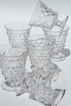 vintage Fostoria American cube pattern stemware, set of 6 fruit cocktail glasses