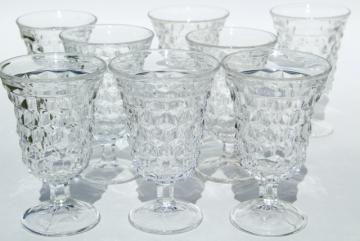 vintage Fostoria American cube pattern wine glasses, set of low water goblets