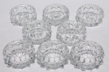 vintage Fostoria American glass salts, set of 8 individual salt dips dishes
