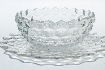 vintage Fostoria American pattern glass, sandwich tray plate & salad bowl