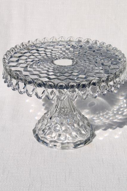 vintage Fostoria American round cake stand w/ brandy well, crystal clear glass