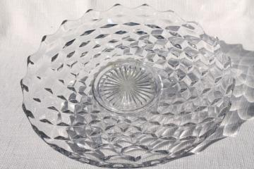 vintage Fostoria American torte or cake plate, crystal clear cube pattern pressed glass