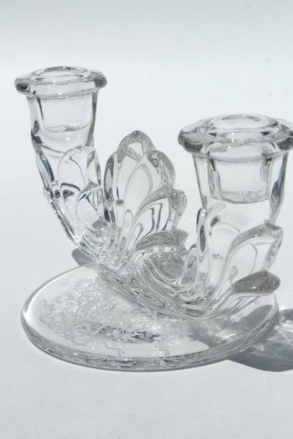 vintage Fostoria Baroque candle holders, pair branched candlesticks Corsage etched glass
