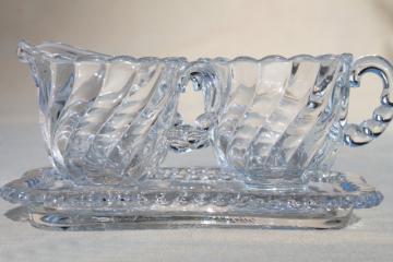 vintage Fostoria Colony crystal clear glass mini cream & sugar set with tray