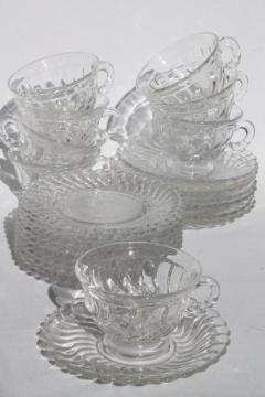 vintage Fostoria Colony glass tea party / luncheon set, plates, cups & saucers