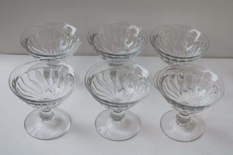 vintage Fostoria Colony pattern coupe champagne glasses, low saucer shape champagnes