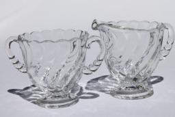 vintage Fostoria Colony pattern pressed glass, cream pitcher & sugar bowl set