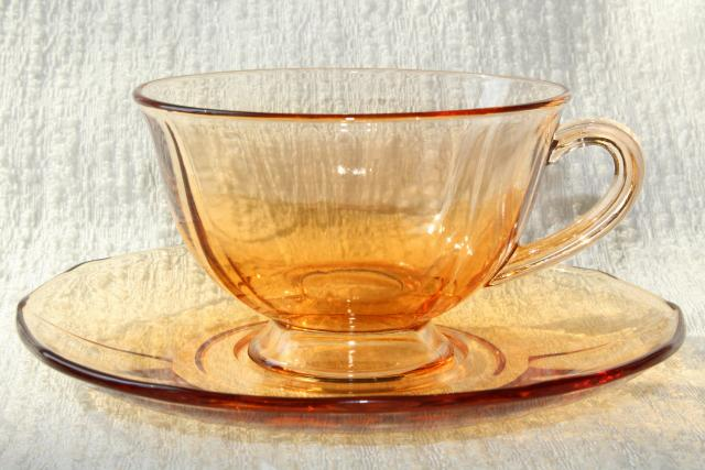vintage Fostoria Fairfax cups & saucers set for 6, topaz amber glass