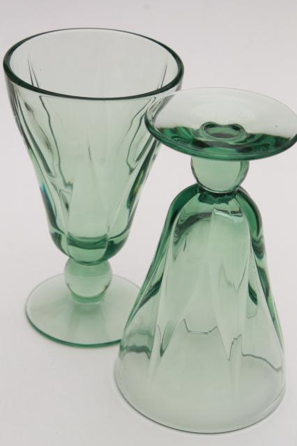 vintage Fostoria Fairmont green glass stemware, set of 6 juice glasses