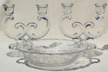 vintage Fostoria Heather etched glass console bowl & pair branched candlesticks