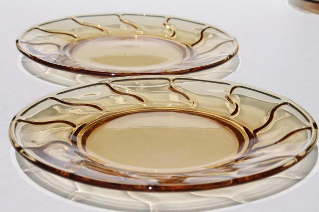 vintage Fostoria Jamestown amber glass salad or luncheon plates set of 12 & vintage Fostoria Jamestown amber glass salad or luncheon plates set ...