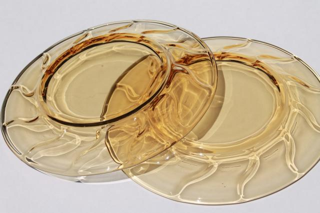 vintage Fostoria Jamestown amber glass salad or luncheon plates, set of 12