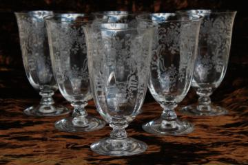 vintage Fostoria Meadow Rose etched glass tumblers, set of 6 footed glasses