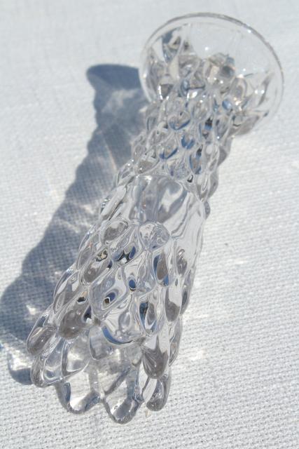 Vintage Fostoria Artichoke Pattern Glass Vase Heavy Crystal Clear