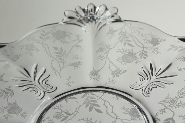 vintage Fostoria baroque chintz etching crystal clear glass cake plate w/ handles