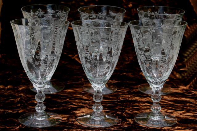 Vintage Fostoria Chintz Floral Etch Glass Low Stem Goblet