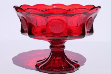 vintage Fostoria coin glass compote dish in ruby red, large pedestal bowl