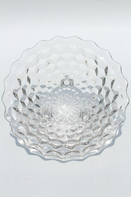 Vintage Fostoria Cube Pattern Glass Salad Serving Bowl Large