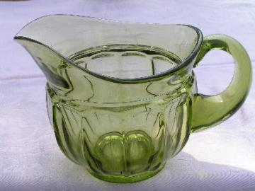 vintage Fostoria fat green glass pitcher