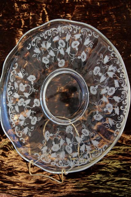 vintage Fostoria morning glory etch glass torte plate, cake plate w/ etched morning glories
