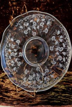 vintage Fostoria morning glory etch glass torte plate cake plate w/ etched morning glories & vintage cake plates and cake stands