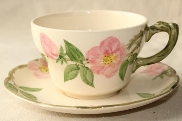 vintage Franciscan Desert Rose oversized cup and saucer teacup or coffee cup : franciscan desert rose dinnerware - pezcame.com