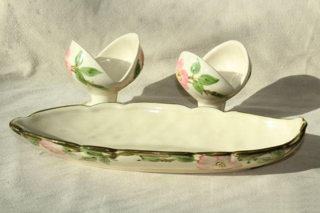 vintage Franciscan Desert Rose pink flowers candle holders & long oval bowl