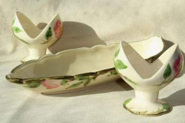 vintage Franciscan Desert Rose pink flowers candle holders & long oval bowl