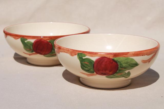 vintage Franciscan apple pottery dinnerware American made, California backstamp