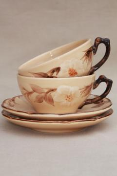 vintage Franciscan china, royal rose desert tan cafe brown cups & saucers