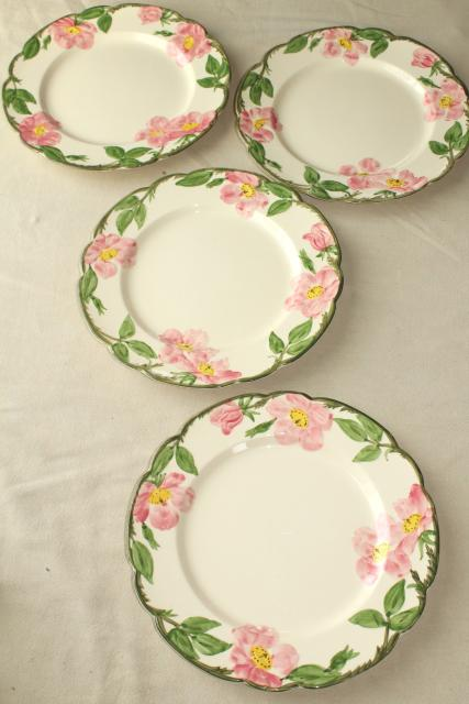 vintage Franciscan pottery Desert Rose china set of 4 dinner plates USA mark & vintage Franciscan pottery Desert Rose china set of 4 dinner plates ...