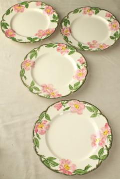 vintage Franciscan pottery Desert Rose china, set of 4 dinner plates USA mark