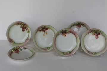 vintage French Limoges china bowls, summer - autumn fruit & berries hand painted