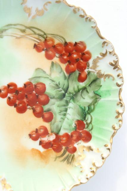 vintage French Limoges china fruit plates w/ hand painted currants & berries