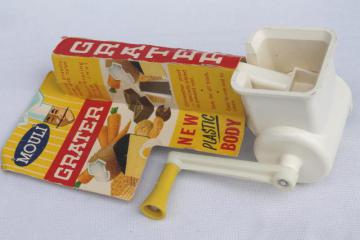 vintage French Mouli grater w/ hand crank, salad maker shredder kitchen tool mint in package