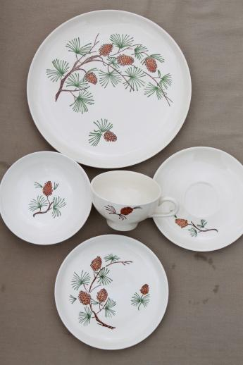 vintage French Saxon china pine cone pattern dishes w/ pine branches u0026 pinecones & vintage French Saxon china pine cone pattern dishes w/ pine branches ...