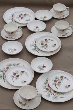 vintage French Saxon china pine cone pattern dishes w/ pine branches & pinecones