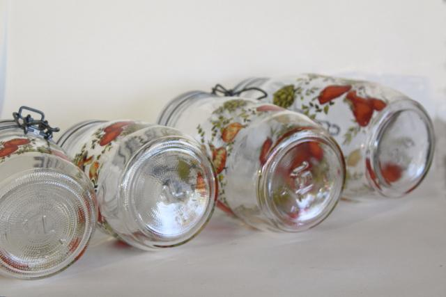 vintage French canning jars, glass canisters w/ bail lids kitchen seasonings spice of life