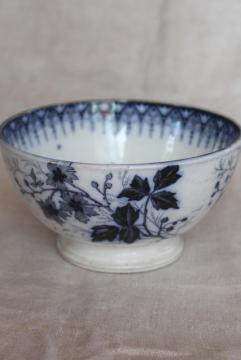 vintage French flow blue footed bowl, Luneville France Julienne bramble pattern