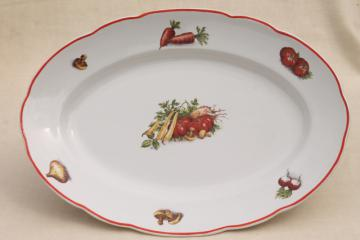 vintage French kitchen china vegetable platter, Luneville Badonviller faience pottery