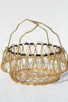 vintage French kitchen colander steamer basket, folding collapsible wire basket