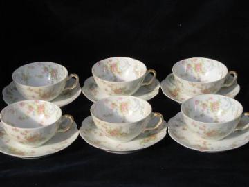 vintage French porcelain cups & saucers, old pink floral Haviland - Limoges china