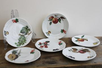 vintage French porcelain dessert fruit & cheese plates w/ different fruit designs