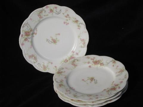 vintage French porcelain plates old pink floral Haviland - Limoges France china & vintage French porcelain plates old pink floral Haviland - Limoges ...