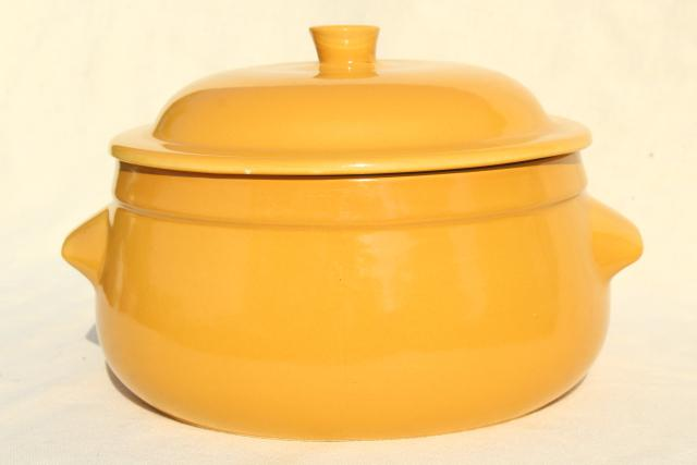 vintage French stoneware, Emile Henry - France casserole, mustard gold dish w/ lid