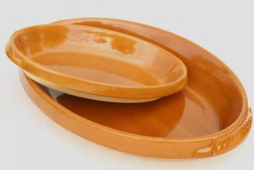 vintage French stoneware oval gratin dishes, Digoin pottery baking dishes