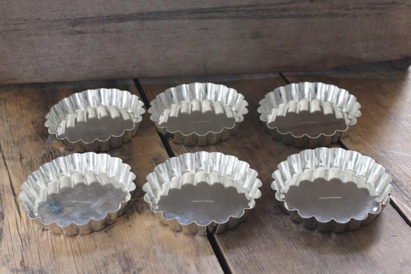 vintage French tartlet pans, set of heavy steel fluted tart baking pans made in France